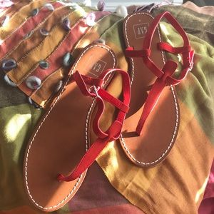 GAP red suede thong sandals
